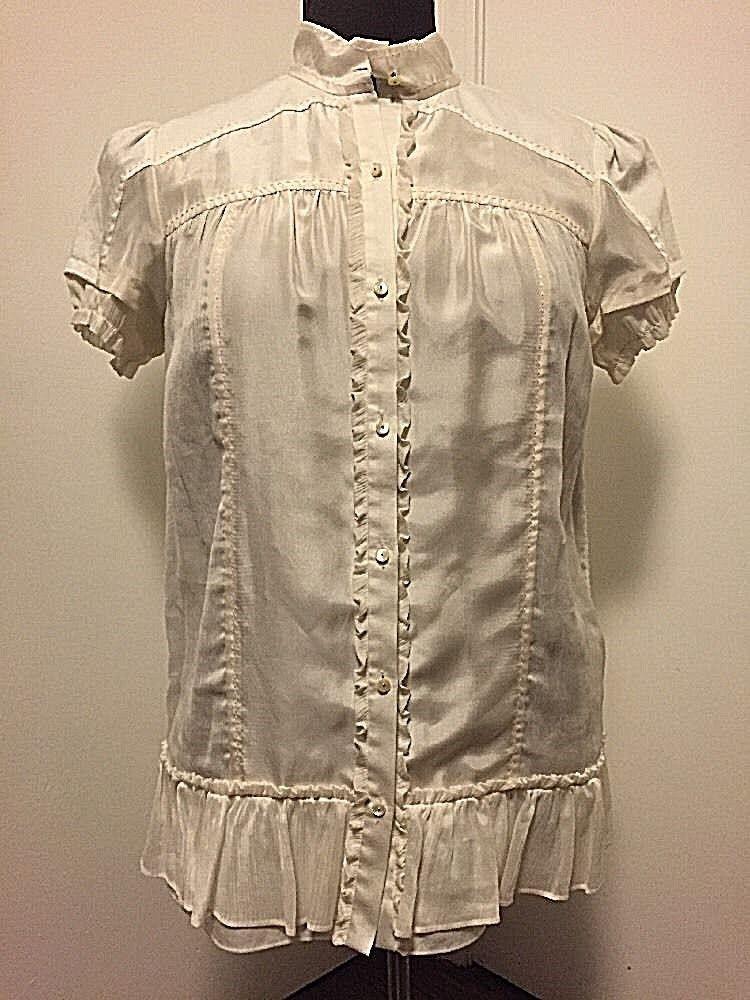 d25dc20b80a757 New Diane von MARGIE White Blouse Size 6 Furstenberg Top nppprh656 ...