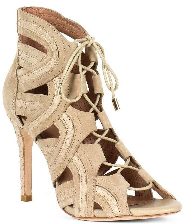 Joie  385 Dean Leather Suede Snakeskin Caged Gladiator Sandals Heels Sz 36 - (6)