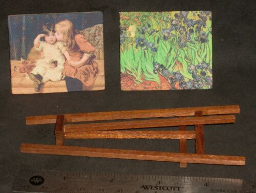 2 Painting Artwork Van Gogh /& Easel 1:12 Scale Dollhouse Miniature G7925