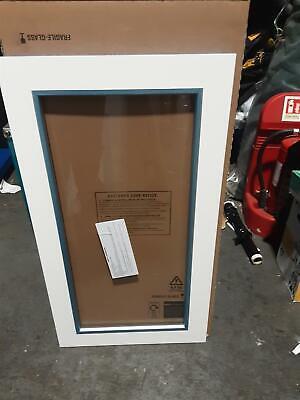 W 500mm IT Kitchens Santini Gloss White Slab Tall glazed Cabinet door
