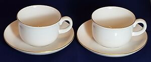 Royal Doulton Fine Bone China Large cups and Saucers with Golden rim x 2 - High Wycombe, United Kingdom - Royal Doulton Fine Bone China Large cups and Saucers with Golden rim x 2 - High Wycombe, United Kingdom