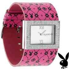 Playboy Watch Bunny Pink Leather Band Swarovski Crystal Stainless Steel Back HTF