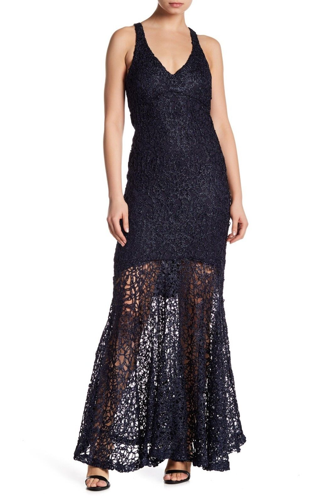 Marina Metallic Lace Gown Navy 263540 Sz 4  189 NWT
