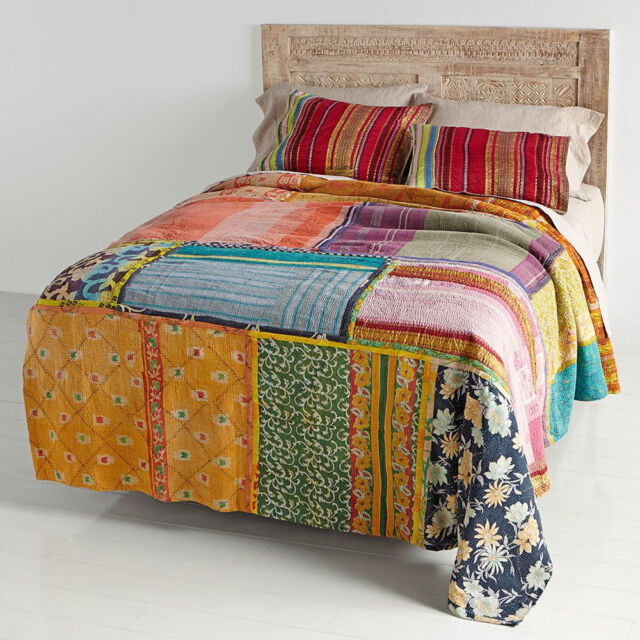 King Bedding Vitage Kantha Quilt Patchwork Quilt Indian Patchwork Blanket Throw