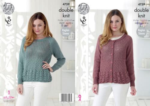 Raglan Sleeve Lace Cardigan /& Sweater Knitting Pattern King Cole Glitz DK 4759