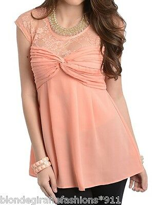 Coral Pleated Bust Sweetheart Lace Neckline Cap Sleeve Babydoll Top S M L