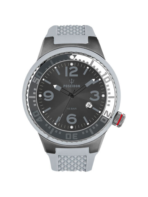 POSEIDON Unisex-Armbanduhr S Analog Silikonband UP00423 Grau/Anthr. UVP 129,- €