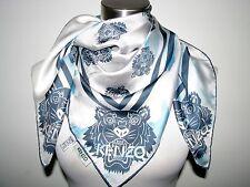 NWT AUTHENT KENZO PARIS 100% SILK 34X34 BLUE/OFF WHITE KENZO TIGERS SCARF Italy