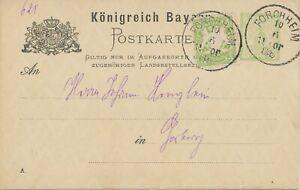 """Bavaria goods Expedition Stamp L2 """"k.g.e. Forchheim/10 JUN.1886 VM."""" 3 PF GA"""