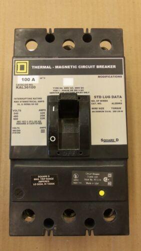 SQUARE D KAL 3 pole 100 amp 600v KAL36100 Circuit Breaker GRAY LABEL UR