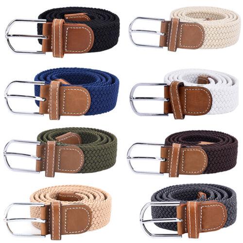 Cintura per uomo Cinturino elastico in tela Fibbia intrecciata cinghie elasti LO