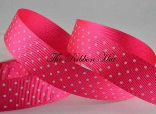 "7//8/"" Polka Dot//Spotty//Dotty Grosgrain Ribbon-1M//3M Lengths-Craft Supplies 22mm"