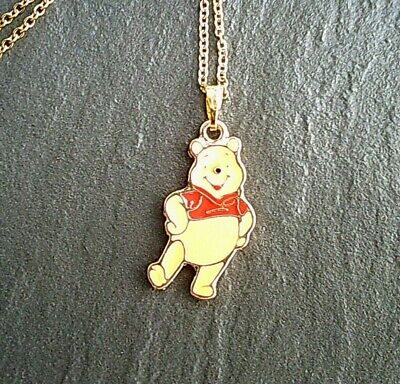 """Winnie the Pooh Gold Pendant Charm Stainless Steel Necklace Jewelry 14/""""-24/"""" UK"""