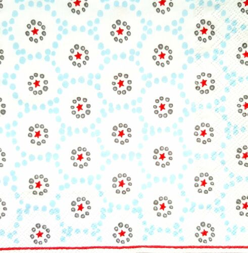 4 Lunch Paper Napkins for Decoupage Craft Vintage Blue Red Stars 1//17