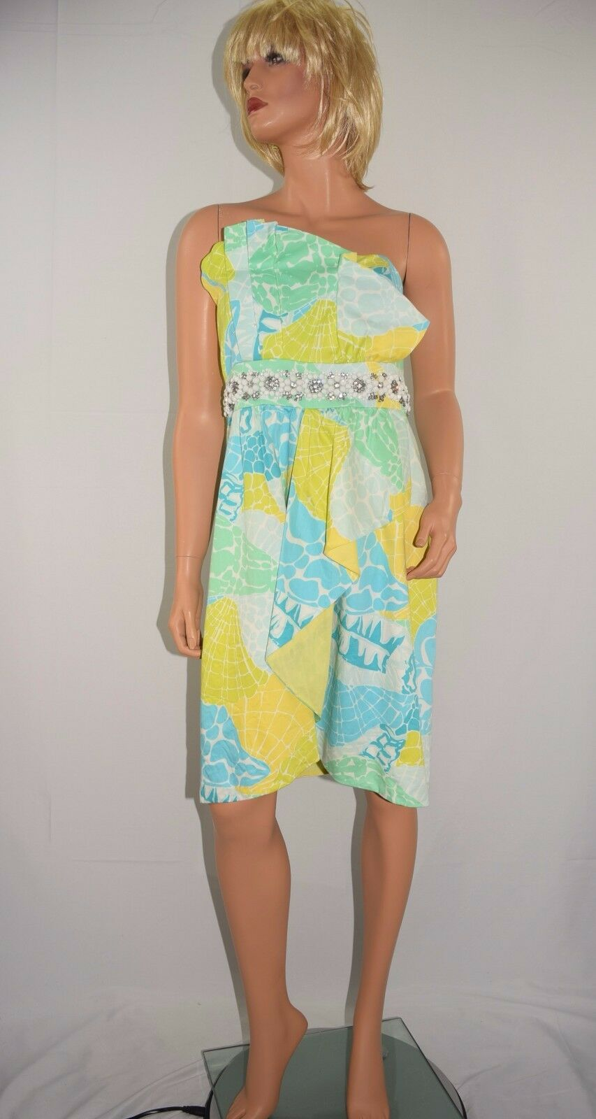 LILLY PULITZER Strapless 100% Cotton Pastel Sea Shell Print Bead Dress Größe 14