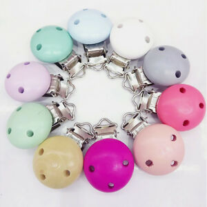 10pcs Infant Baby Wooden Pacifier Suspender Clip Holder Soother Dummy Nipple