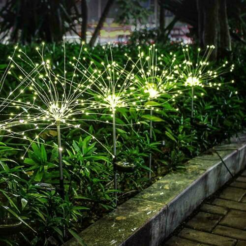 90LED Firework Starburst LED Stake Light Solar Powered Garden Party Outdoor