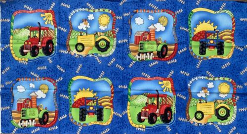 "60cm x 112cm Clothworks Tractor 100/% cotton Panel  23/""x44/"""