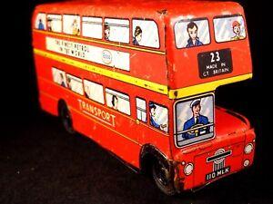 Ancien Jouet Bus Londonien Anglais 2 étages Car Mécanique Tôle Esso Transport 50