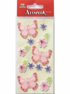 Artoz Butterflies And Flowers Craft Embellishment Stickers Card Making Scrapbook
