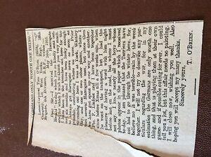 m74 ephemra 1915 article ww1 tom o039brien 1st west yorks b e f - Leicester, United Kingdom - m74 ephemra 1915 article ww1 tom o039brien 1st west yorks b e f - Leicester, United Kingdom