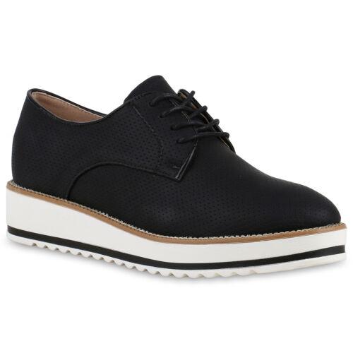 Damen Halbschuhe Profilsohle Dandy Style Schnürschuhe 814384 Schuhe
