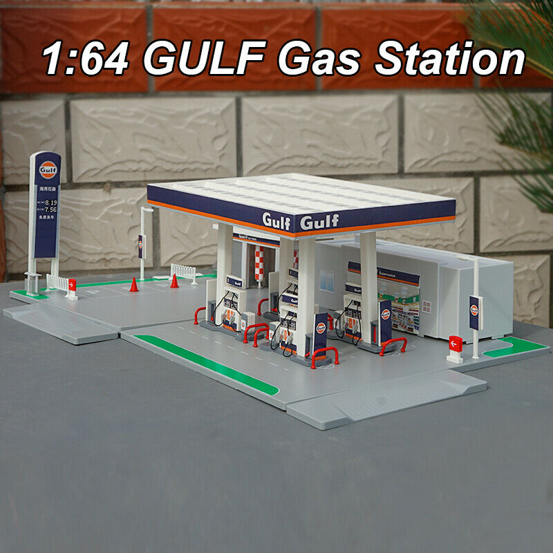 1:64 GULF Gas Station DIY Assembly Model Fit for Diecast Model Car Toy New InBox