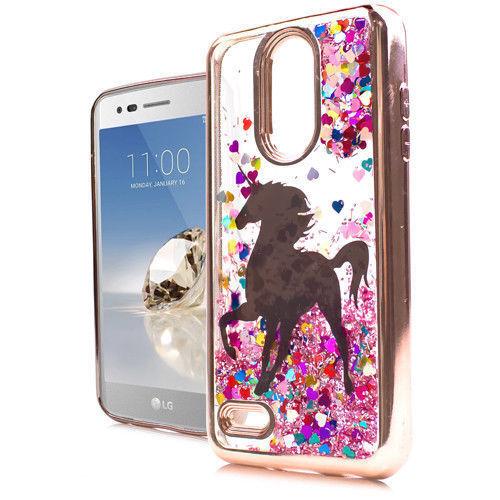 innovative design 03db3 d62e5 for LG Aristo 2 X210 - TPU Waterfall Liquid Glitter Case Rose Gold Unicorn  Heart