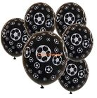 Soccer Ball Football Black Latex Helium Balloon x 6 Sports Party Decoration