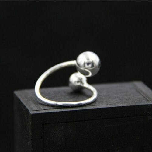 New 925 Sterling Silver Handmade Two balls Design Open Ring Size 4-7