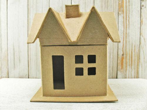 "Large Vintage Style Paper Mache House BOX w//lid Putz Christmas Papier 6/"" Supply"
