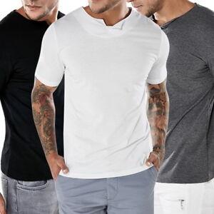 Herren-Beilaeufig-Kurzarm-T-Shirt-Knopfleiste-Oberteile-Einfacher-V-Ausschnitt