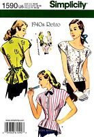 Simplicity Sewing Pattern 1590 Women's 1940's Retro Blouse Tops 16-24 Vintage