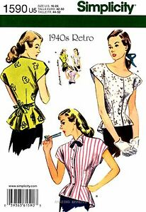 Simplicity sewing pattern 1590 women s 1940 s retro blouse tops 16 24