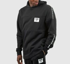 Puma-Rebel-Block-Pullover-Fleece-Hoodie-Relaxed-Fit-Schwarz-Herren-Groesse-Medium-Large