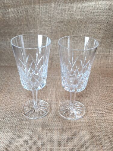 Set of 2 Cavan Water Goblet Glasses Hand Cut Irish Lead Crystal Ramor 7 1//4/'/'