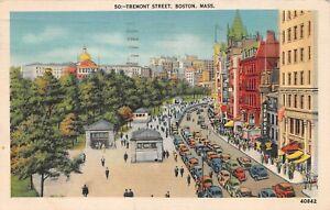 Vintage Tremont Street Boston Massachusetts MA Linen Postcard 1942