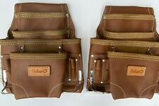 10 POCKET OIL TAN LEATHER TOOL POUCH WITH BELT 2 PACK
