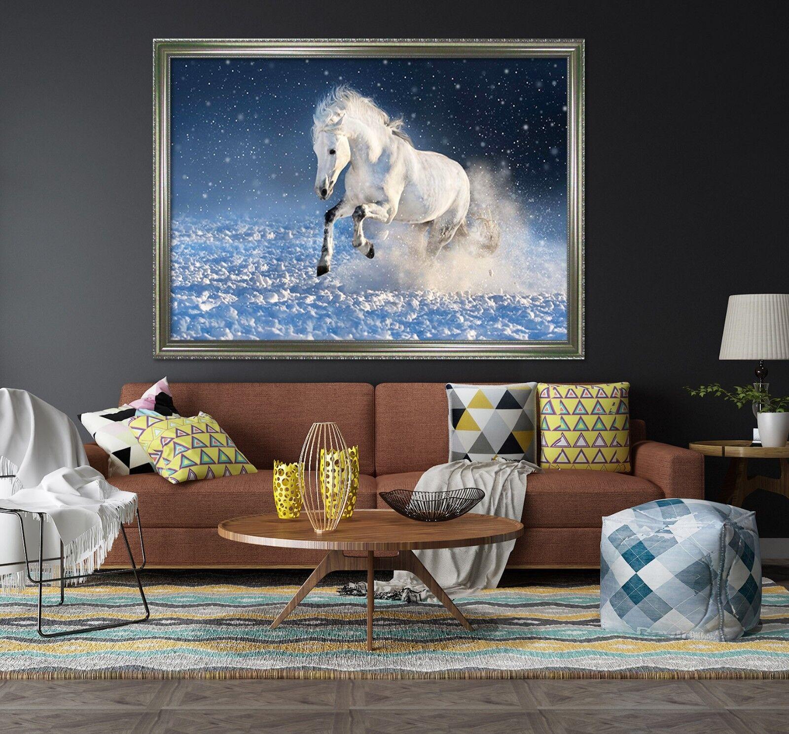 3D Snow Land Horse 2 Framed Poster Home Decor Print Painting Art AJ WALLPAPER