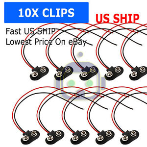 10x-9V-12cm-Battery-Connector-T-Type-Clip-Plug-Wire-Cord-Leads-9-Volt