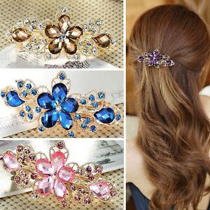 Fashion Women Jewelry Crystal Rhinestone Flower Hair Barrette Clip Hairpin