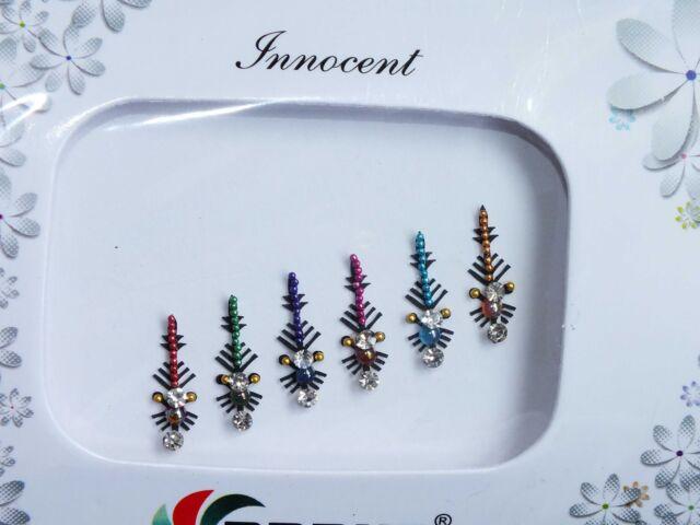 Indisch Steck auf/Sticker Kristall- Silbern Diamant Bridal Kopf Bindi Tikka