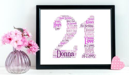 A4 PERSONALISED GIRLS 18TH OR 21ST BIRTHDAY WORD ART LADIES GIFT BESPOKE UNIQUE
