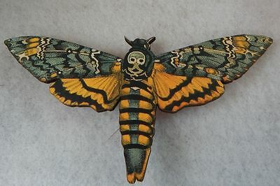 Death Moth Life Like Brooch or Scarf Pin Handmade Multi-Color Wood No Stone NEW
