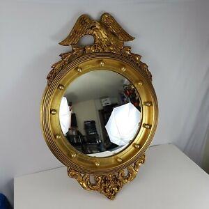 Vintage-Federal-Style-Bullseye-Ethan-Allen-Wall-Hanging-Gold-Eagle-Mirror