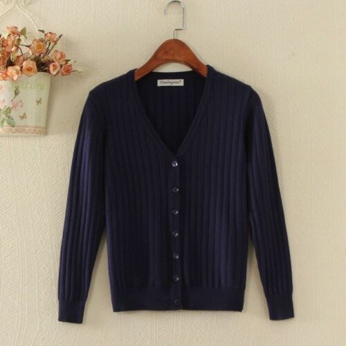 Lady Knitted Cardigan Sweater Jacket Cashmere-like Button Coat Jumper V Neck Top