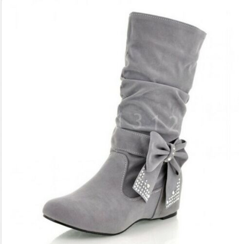 Women's Slouch Bow Knight Round Toe Winter Wedge Mid-calf Boots Stylish Shoes