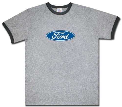 Ford ringer t-shirt Ford tee shirt ford tshirt gray black ring ford shirt men/'s