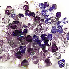 Swarovski 5328 Xilion Bicone Mixes 4mm Purples 100 beads