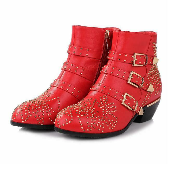 Womens Leather Pointy Toe Ankle Boots Punk Buckles Rivet Mid Block Riding shoes